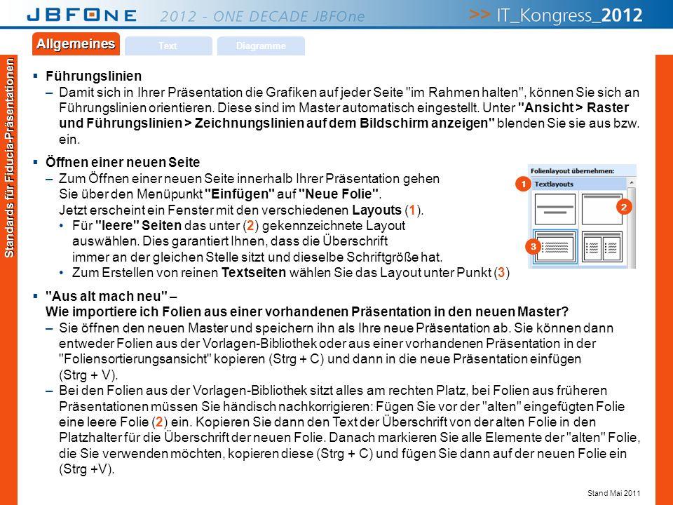 Titel der Präsentation | JBFOne 2012 | Seite 17 Copyright © JBFOne 2012 Führungslinien –Damit sich in Ihrer Präsentation die Grafiken auf jeder Seite