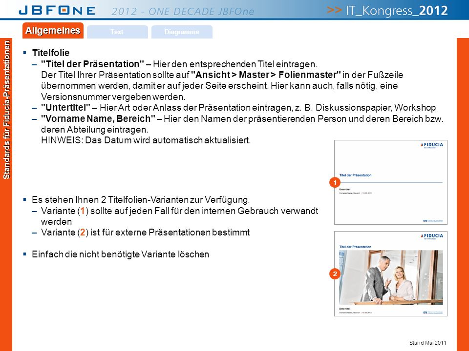 Titel der Präsentation | JBFOne 2012 | Seite 19 Copyright © JBFOne 2012 Text Allgemeines Diagramme Titelfolie –