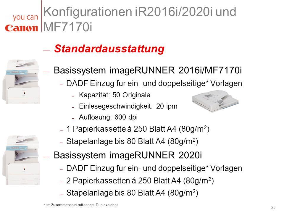 25 Konfigurationen iR2016i/2020i und MF7170i Basissystem imageRUNNER 2016i/MF7170i DADF Einzug für ein- und doppelseitige* Vorlagen Kapazität: 50 Orig