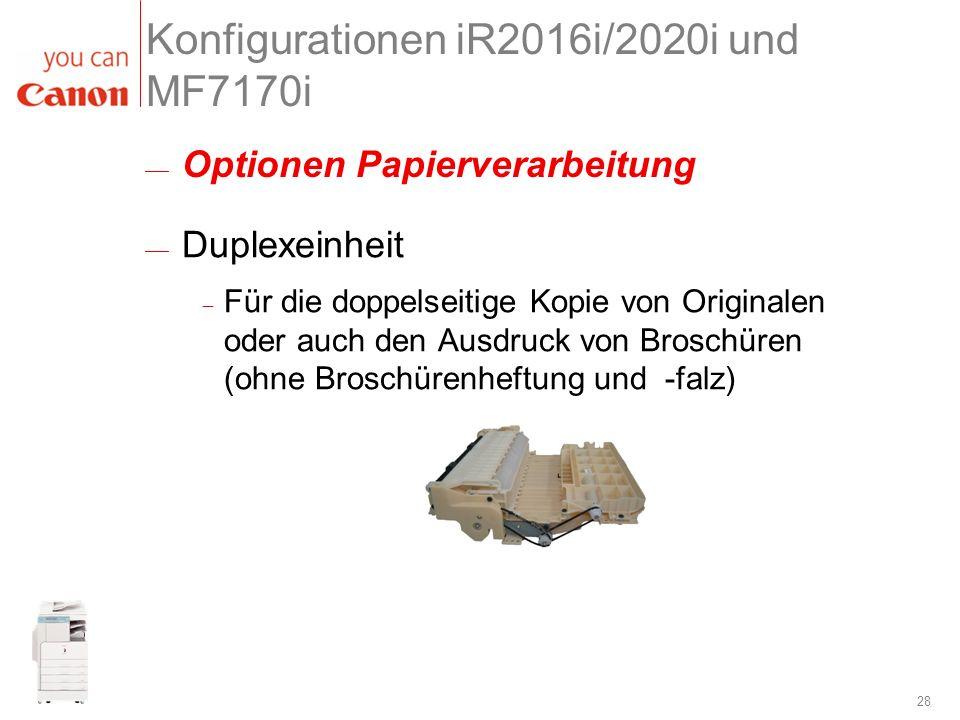 28 Konfigurationen iR2016i/2020i und MF7170i Duplexeinheit Für die doppelseitige Kopie von Originalen oder auch den Ausdruck von Broschüren (ohne Bros