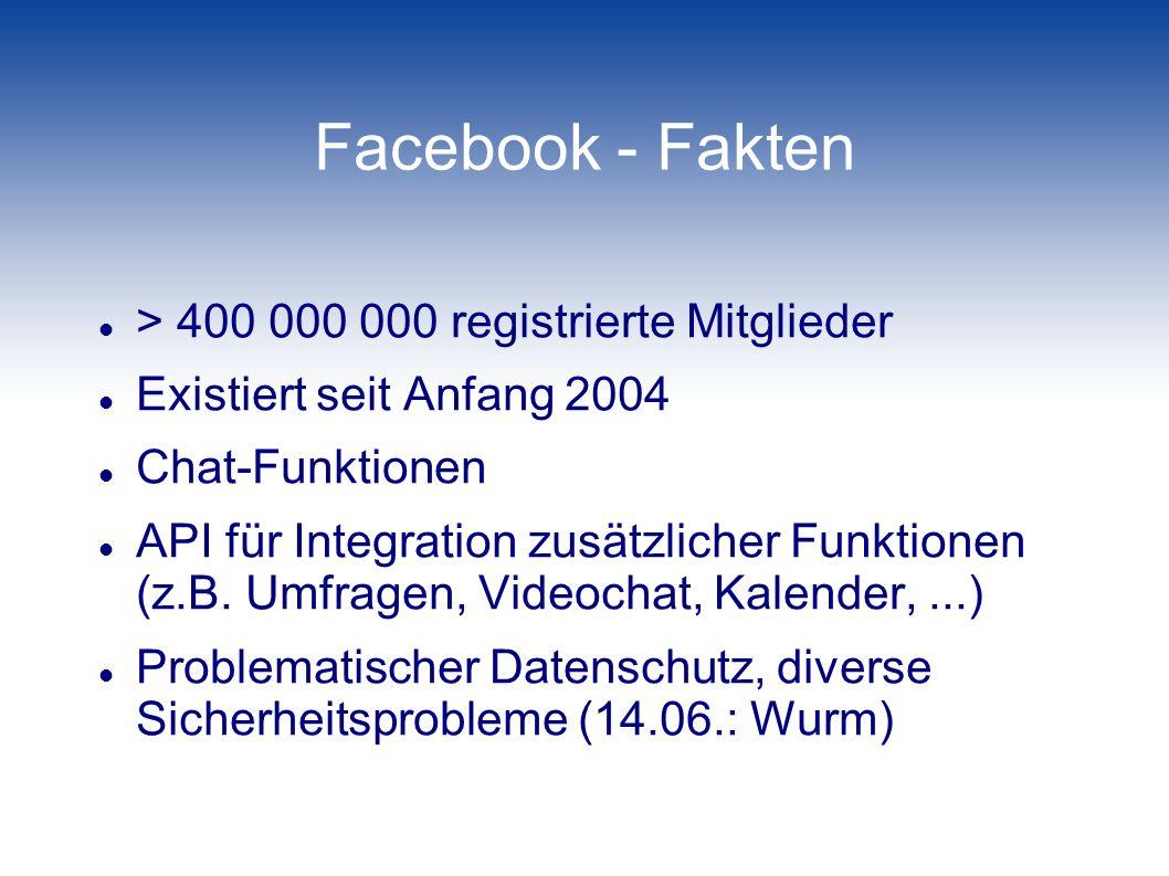 Facebook - Fakten > 400 000 000 registrierte Mitglieder Existiert seit Anfang 2004 Chat-Funktionen API für Integration zusätzlicher Funktionen (z.B. U
