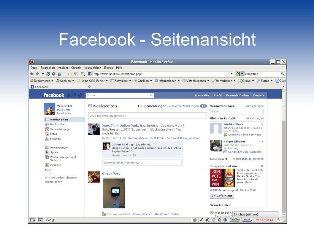 Facebook - Seitenansicht