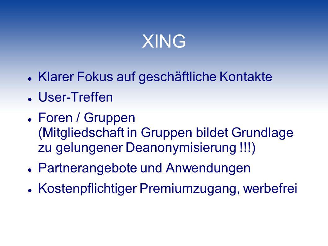 XING Klarer Fokus auf geschäftliche Kontakte User-Treffen Foren / Gruppen (Mitgliedschaft in Gruppen bildet Grundlage zu gelungener Deanonymisierung !
