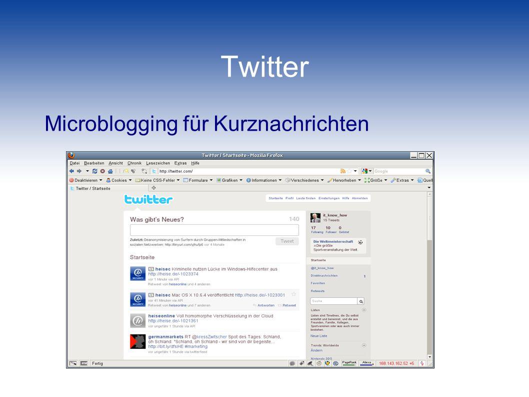 Twitter Microblogging für Kurznachrichten