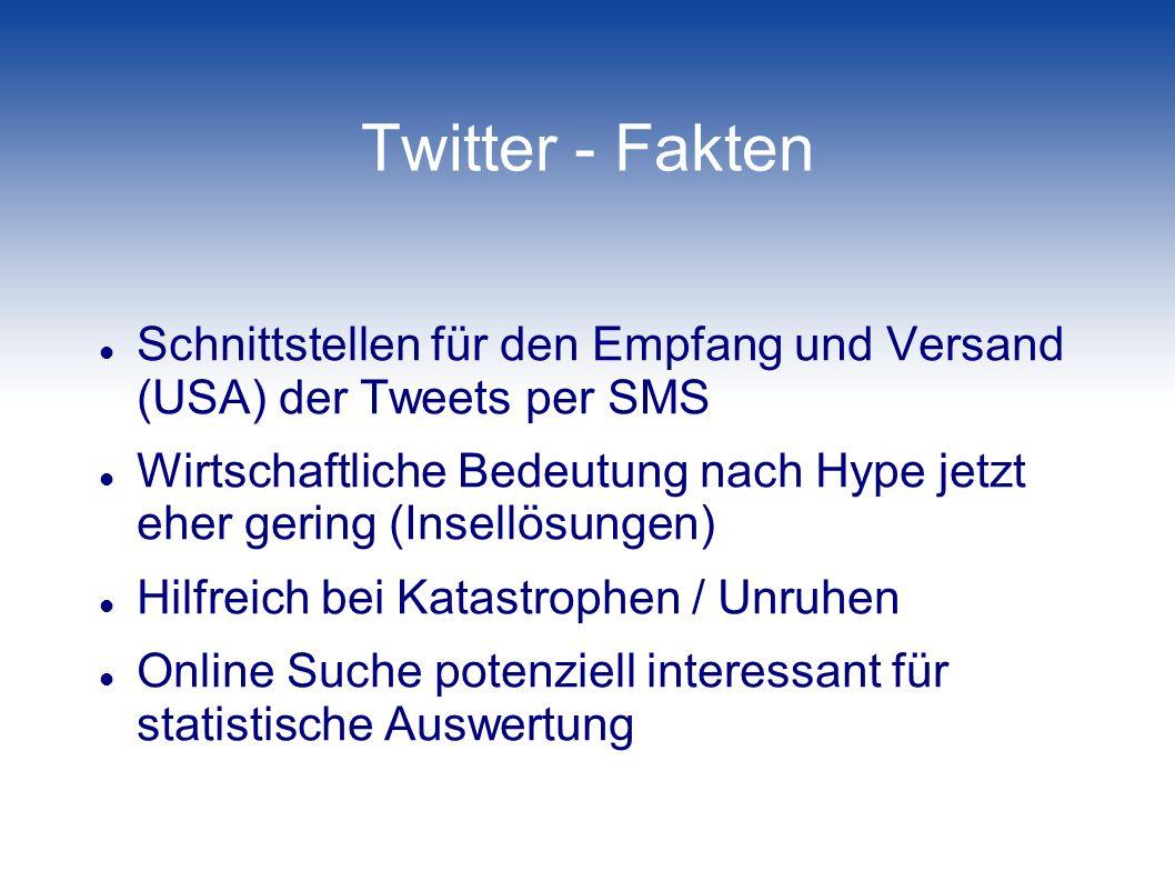 Twitter - Fakten Schnittstellen für den Empfang und Versand (USA) der Tweets per SMS Wirtschaftliche Bedeutung nach Hype jetzt eher gering (Insellösun