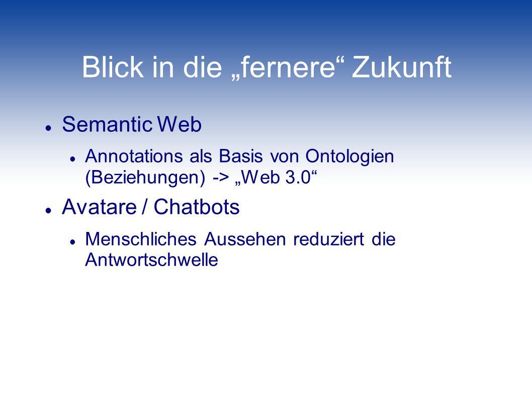 Blick in die fernere Zukunft Semantic Web Annotations als Basis von Ontologien (Beziehungen) -> Web 3.0 Avatare / Chatbots Menschliches Aussehen reduz
