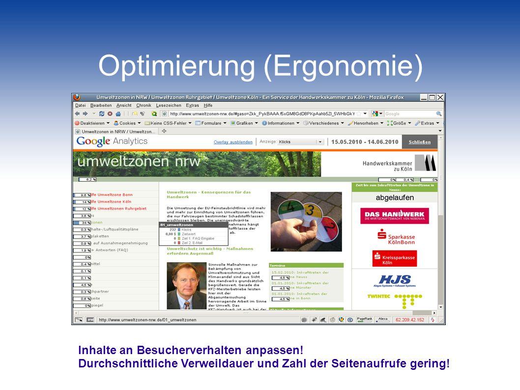 Optimierung des Kontaktpreises Mehr Besucher Bessere Position in den organischen Ergebnissen Optimierte Adwords-Kampagnen Backlinks (!) / Web-Verzeichnisse Mehr Anfragen / Bestellungen (Conversions) Aufbereitung der Inhalte Interaktionsmöglichkeiten (!)
