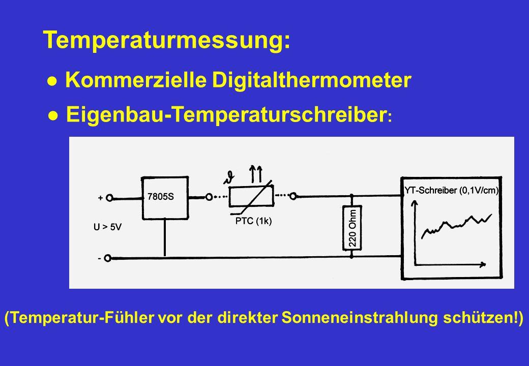 Temperaturmessung: Kommerzielle Digitalthermometer (Temperatur-Fühler vor der direkter Sonneneinstrahlung schützen!) Eigenbau-Temperaturschreiber :