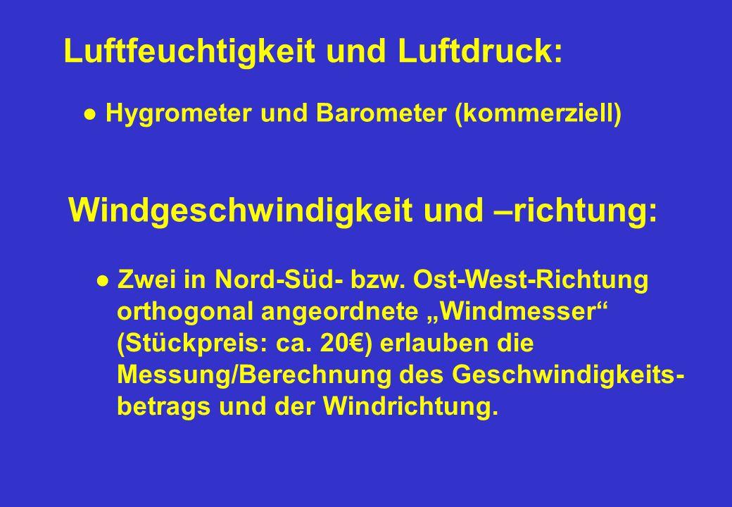 Luftfeuchtigkeit und Luftdruck: Hygrometer und Barometer (kommerziell) Windgeschwindigkeit und –richtung: Zwei in Nord-Süd- bzw. Ost-West-Richtung ort