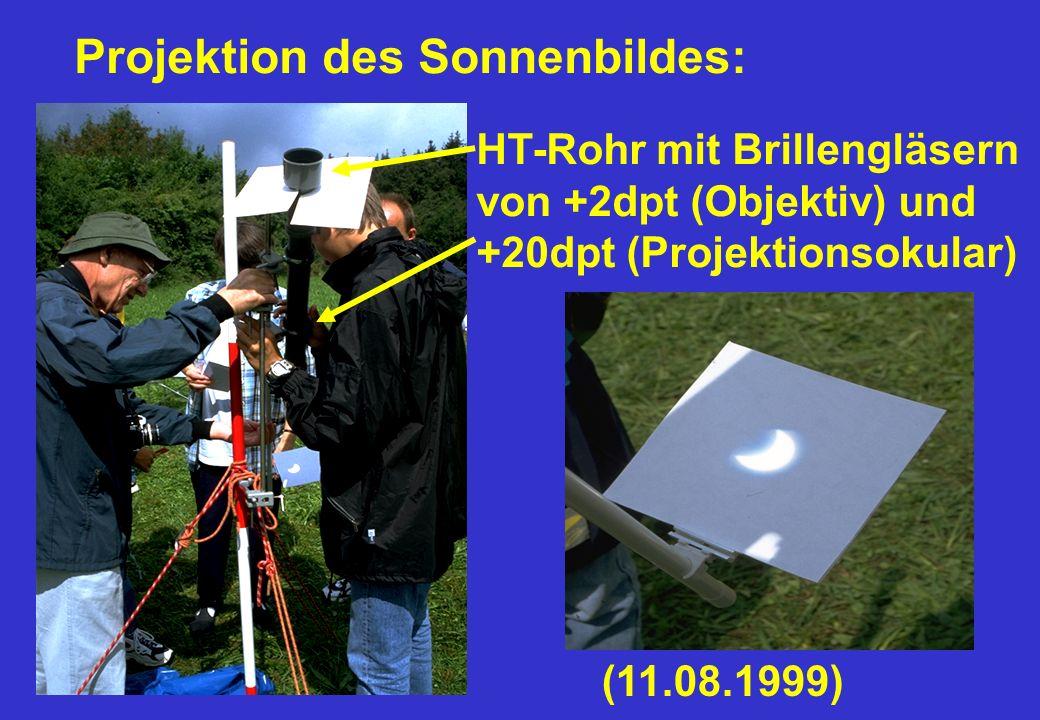 Projektion des Sonnenbildes: HT-Rohr mit Brillengläsern von +2dpt (Objektiv) und +20dpt (Projektionsokular) (11.08.1999)