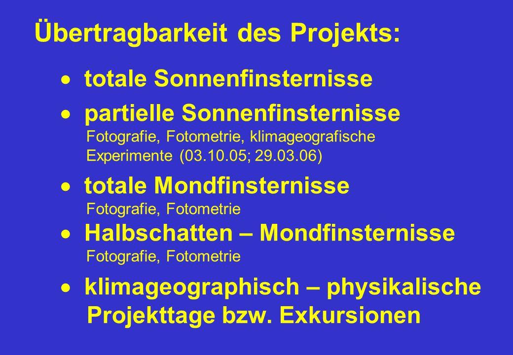Übertragbarkeit des Projekts: totale Sonnenfinsternisse partielle Sonnenfinsternisse Fotografie, Fotometrie, klimageografische Experimente (03.10.05;