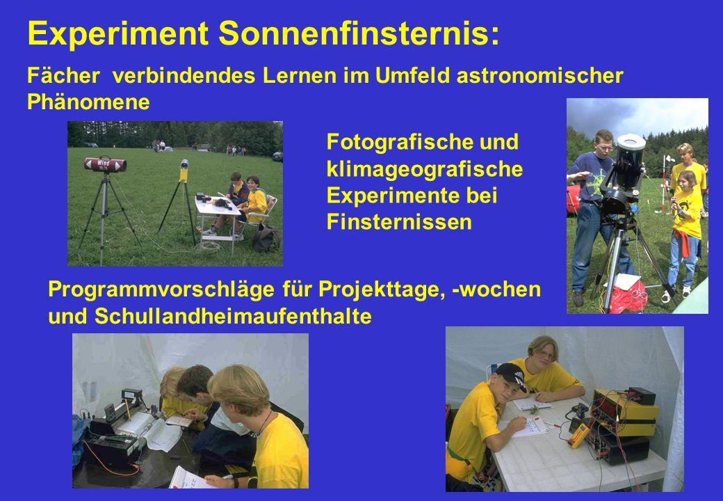Experiment Sonnenfinsternis: Fächer verbindendes Lernen im Umfeld astronomischer Phänomene Fotografische und klimageografische Experimente bei Finster