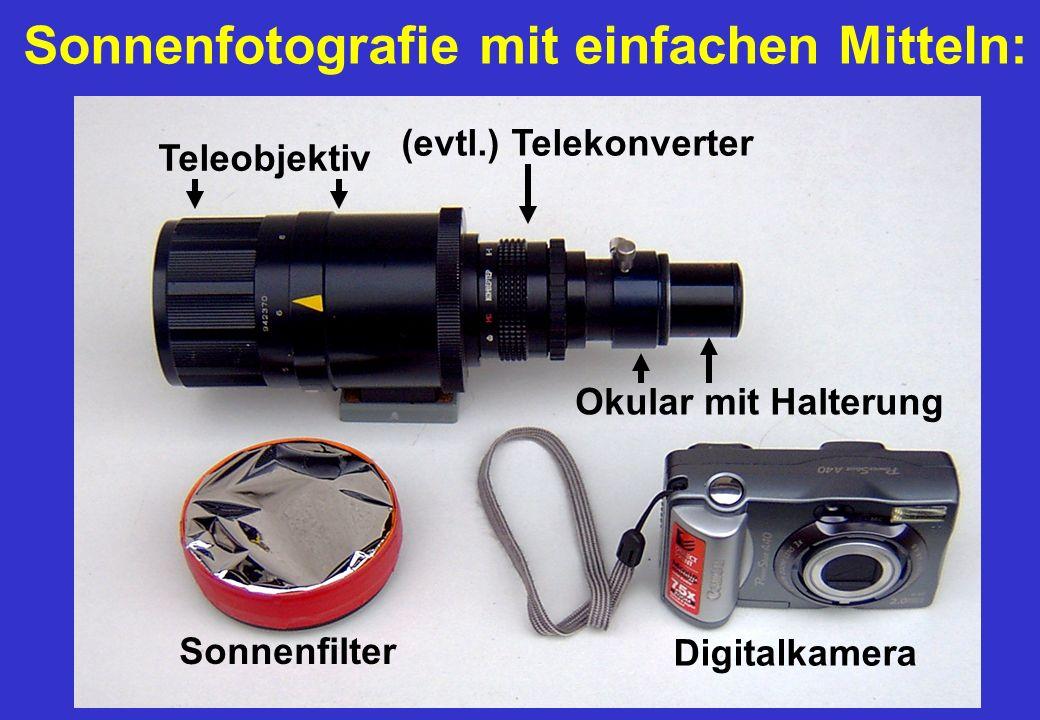 Sonnenfotografie mit einfachen Mitteln: Sonnenfilter Digitalkamera Okular mit Halterung (evtl.) Telekonverter Teleobjektiv