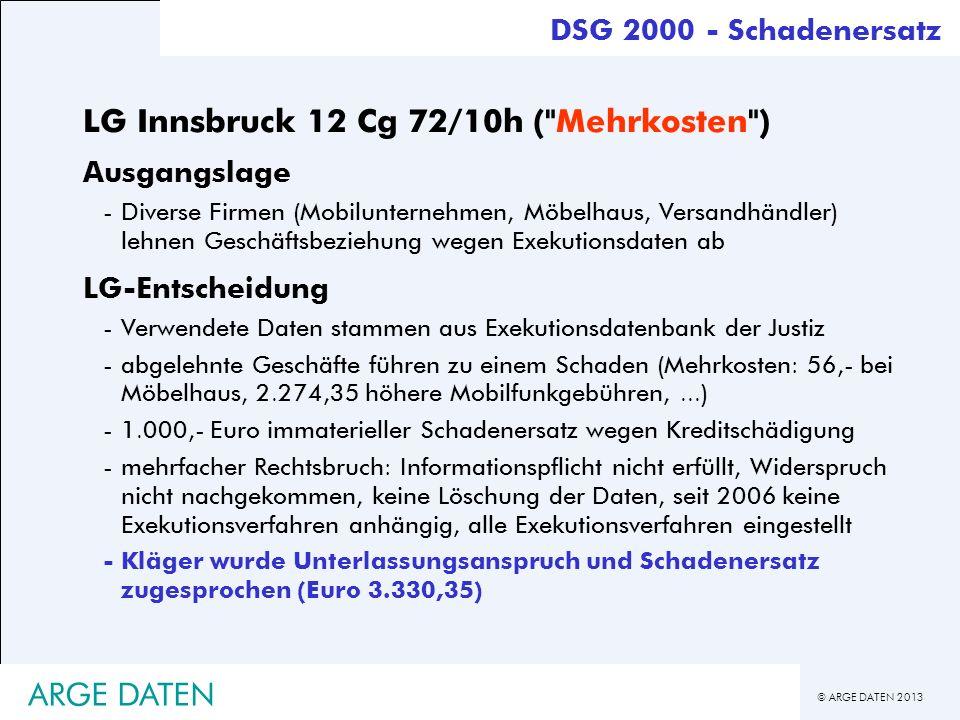 © ARGE DATEN 2013 ARGE DATEN DSG 2000 - Schadenersatz LG Innsbruck 12 Cg 72/10h (
