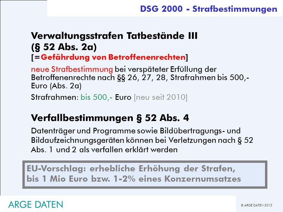 © ARGE DATEN 2013 ARGE DATEN Verwaltungsstrafen Tatbestände III (§ 52 Abs. 2a) [=Gefährdung von Betroffenenrechten] neue Strafbestimmung bei verspätet