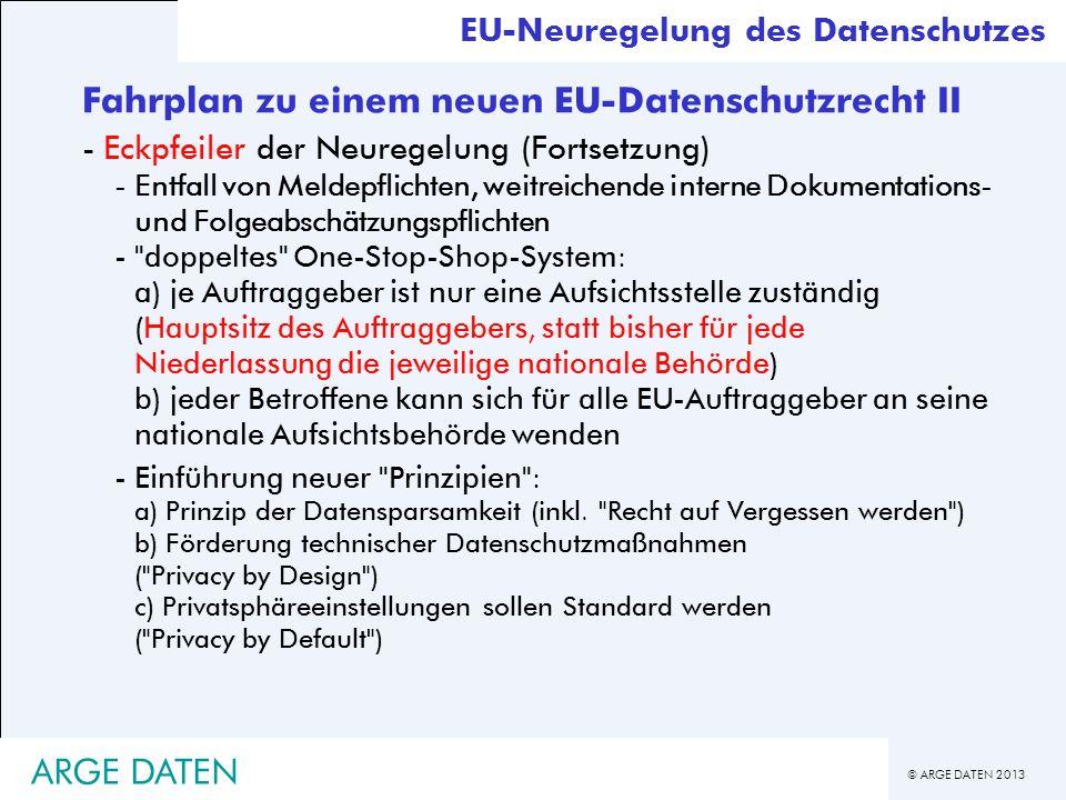 © ARGE DATEN 2013 EU-Neuregelung des Datenschutzes Fahrplan zu einem neuen EU-Datenschutzrecht II -Eckpfeiler der Neuregelung (Fortsetzung) -Entfall v
