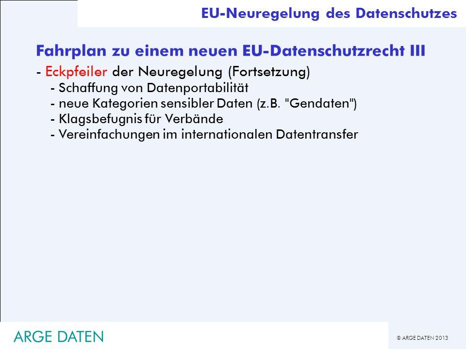 © ARGE DATEN 2013 EU-Neuregelung des Datenschutzes Fahrplan zu einem neuen EU-Datenschutzrecht III -Eckpfeiler der Neuregelung (Fortsetzung) -Schaffun