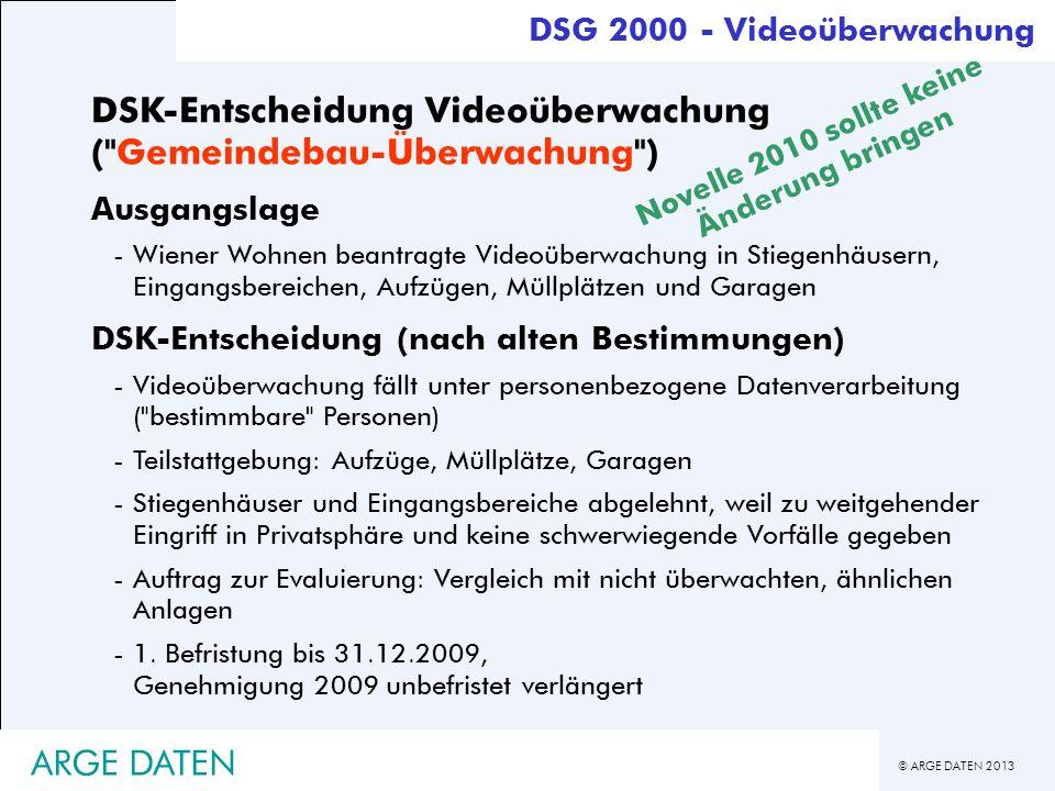 © ARGE DATEN 2013 ARGE DATEN DSK-Entscheidung Videoüberwachung (
