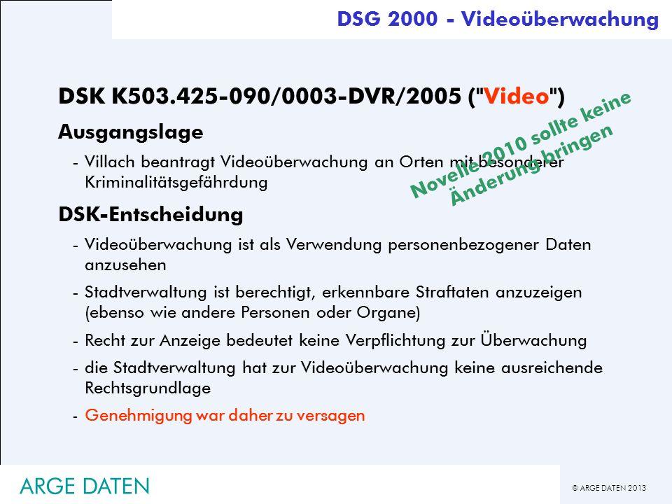 © ARGE DATEN 2013 ARGE DATEN DSK K503.425-090/0003-DVR/2005 (