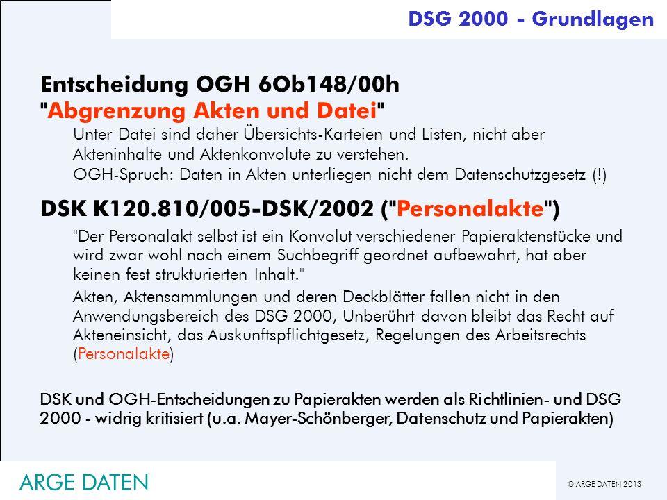 © ARGE DATEN 2013 ARGE DATEN Entscheidung OGH 6Ob148/00h