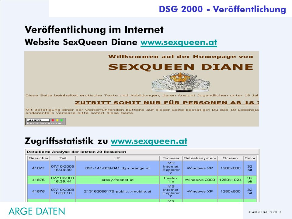 © ARGE DATEN 2013 ARGE DATEN DSG 2000 - Veröffentlichung Zugriffsstatistik zu www.sexqueen.atwww.sexqueen.at Veröffentlichung im Internet Website SexQ