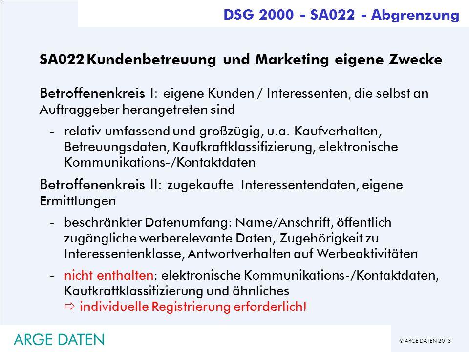© ARGE DATEN 2013 ARGE DATEN SA022Kundenbetreuung und Marketing eigene Zwecke Betroffenenkreis I: eigene Kunden / Interessenten, die selbst an Auftrag