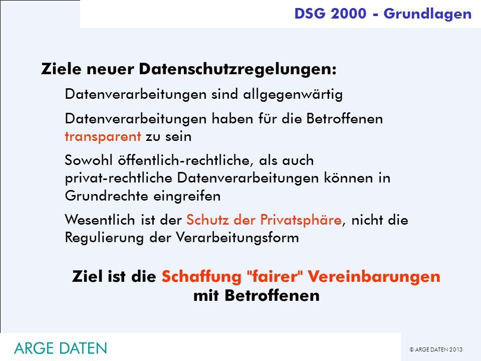 © ARGE DATEN 2013 ARGE DATEN Ziele neuer Datenschutzregelungen: Datenverarbeitungen sind allgegenwärtig Datenverarbeitungen haben für die Betroffenen