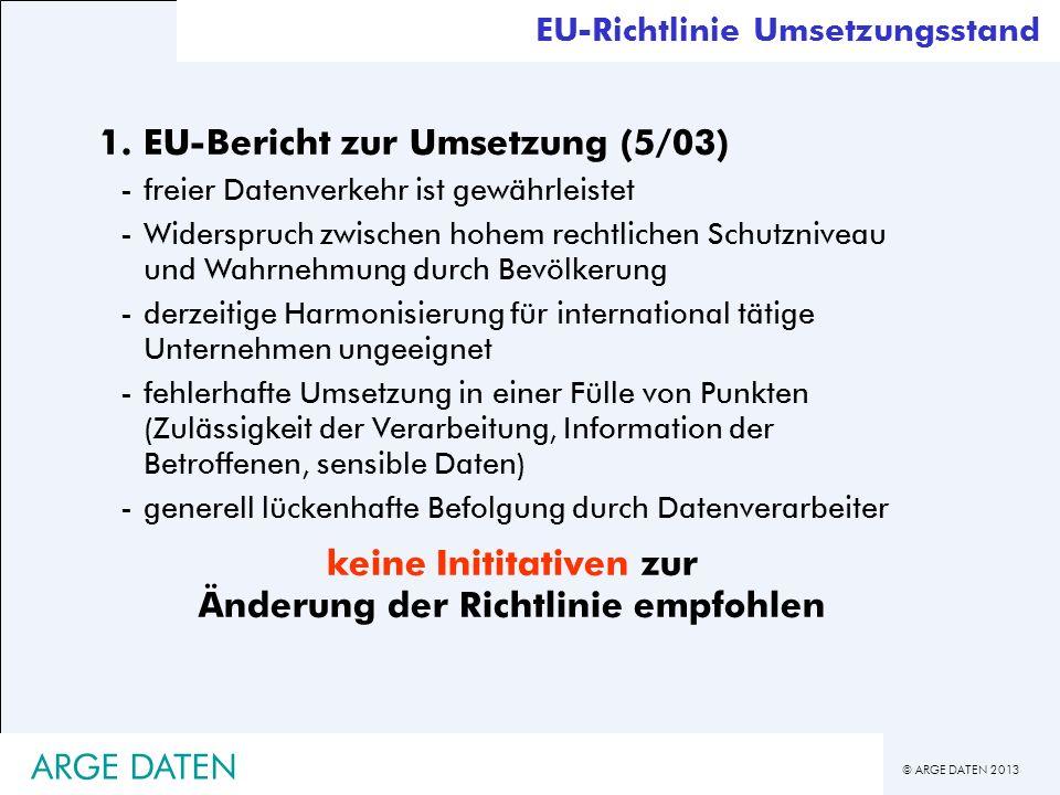 © ARGE DATEN 2013 ARGE DATEN EU-Richtlinie Umsetzungsstand 1. EU-Bericht zur Umsetzung (5/03) -freier Datenverkehr ist gewährleistet -Widerspruch zwis
