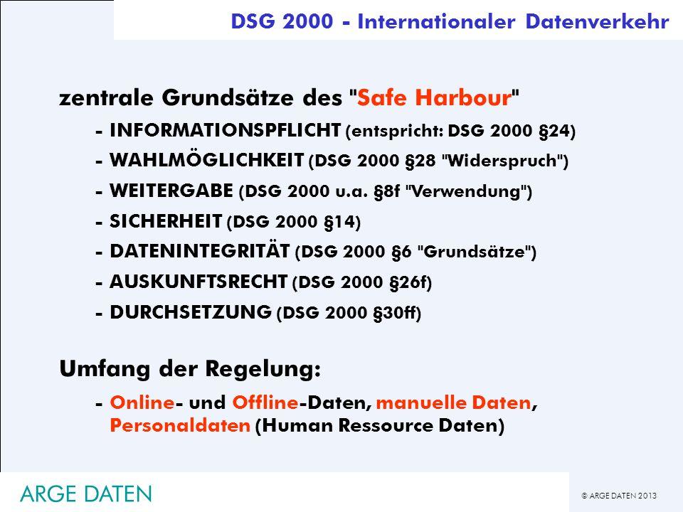 © ARGE DATEN 2013 ARGE DATEN zentrale Grundsätze des