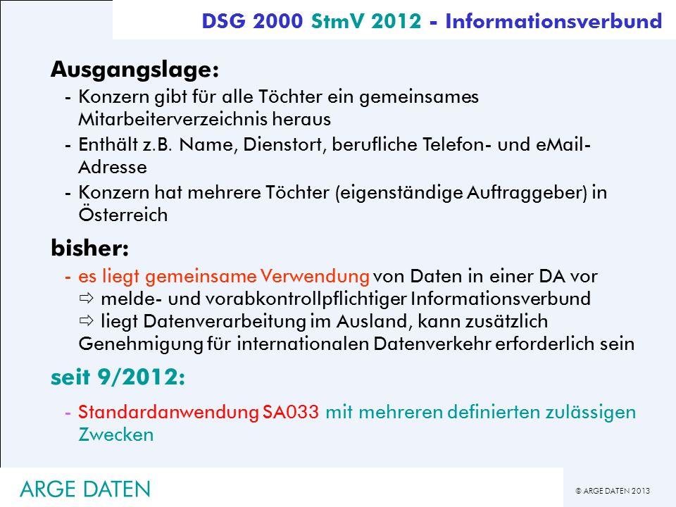 © ARGE DATEN 2013 ARGE DATEN Ausgangslage: -Konzern gibt für alle Töchter ein gemeinsames Mitarbeiterverzeichnis heraus -Enthält z.B. Name, Dienstort,