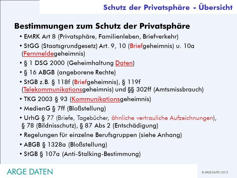 © ARGE DATEN 2013 ARGE DATEN Bestimmungen zum Schutz der Privatsphäre EMRK Art 8 (Privatsphäre, Familienleben, Briefverkehr) StGG (Staatsgrundgesetz)