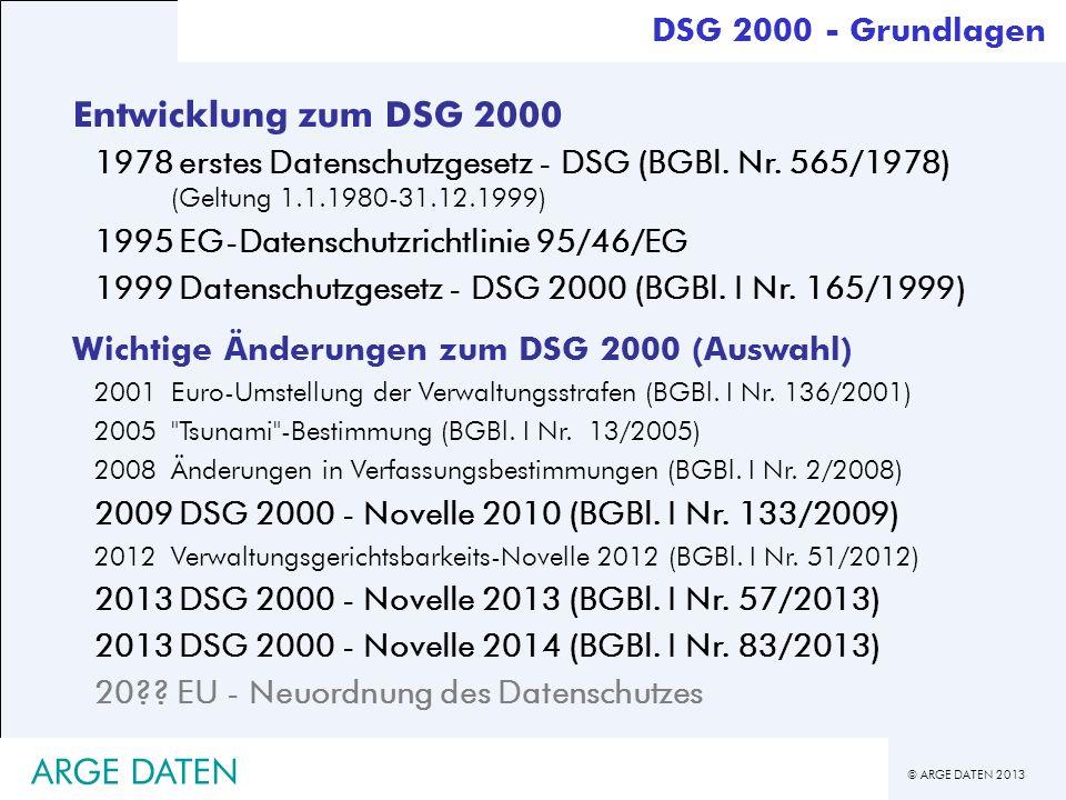 © ARGE DATEN 2013 ARGE DATEN Entwicklung zum DSG 2000 1978erstes Datenschutzgesetz - DSG (BGBl. Nr. 565/1978) (Geltung 1.1.1980-31.12.1999) 1995EG-Dat