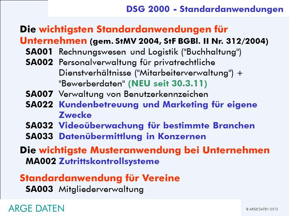 © ARGE DATEN 2013 ARGE DATEN Die wichtigsten Standardanwendungen für Unternehmen (gem. StMV 2004, StF BGBl. II Nr. 312/2004) SA001Rechnungswesen und L