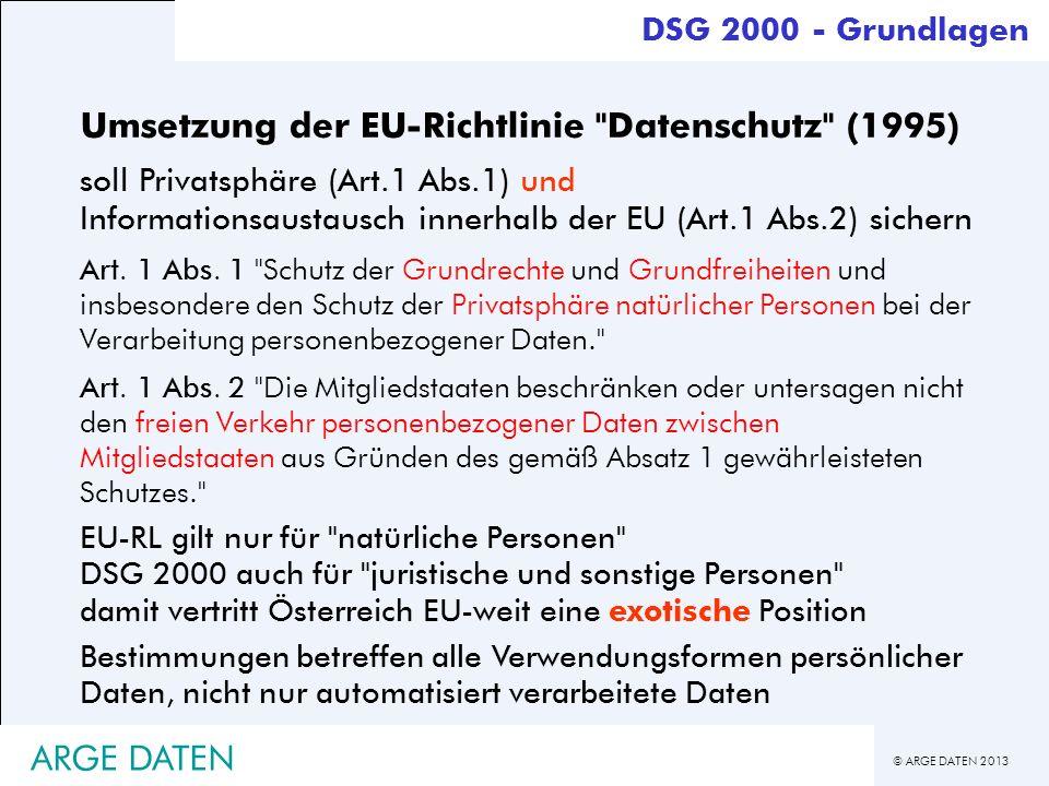 © ARGE DATEN 2013 Umsetzung der EU-Richtlinie