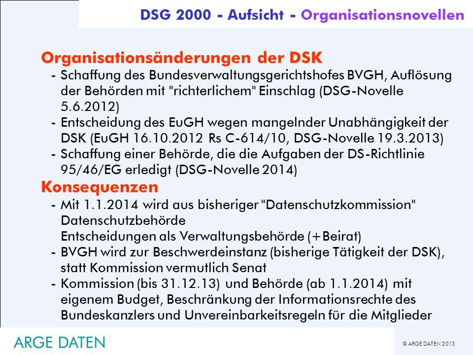 © ARGE DATEN 2013 ARGE DATEN Organisationsänderungen der DSK -Schaffung des Bundesverwaltungsgerichtshofes BVGH, Auflösung der Behörden mit