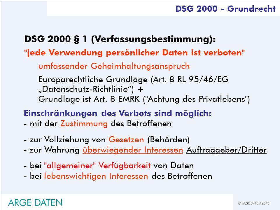 © ARGE DATEN 2013 DSG 2000 - Grundrecht DSG 2000 § 1 (Verfassungsbestimmung) :