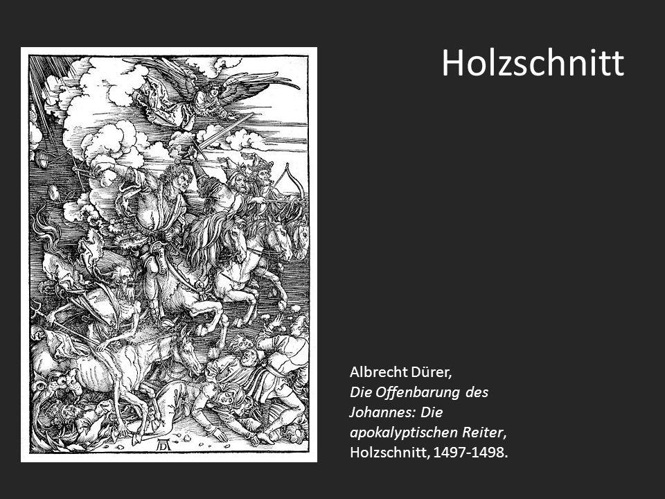 Holzschnitt Albrecht Dürer, Die Offenbarung des Johannes: Die apokalyptischen Reiter, Holzschnitt, 1497-1498.