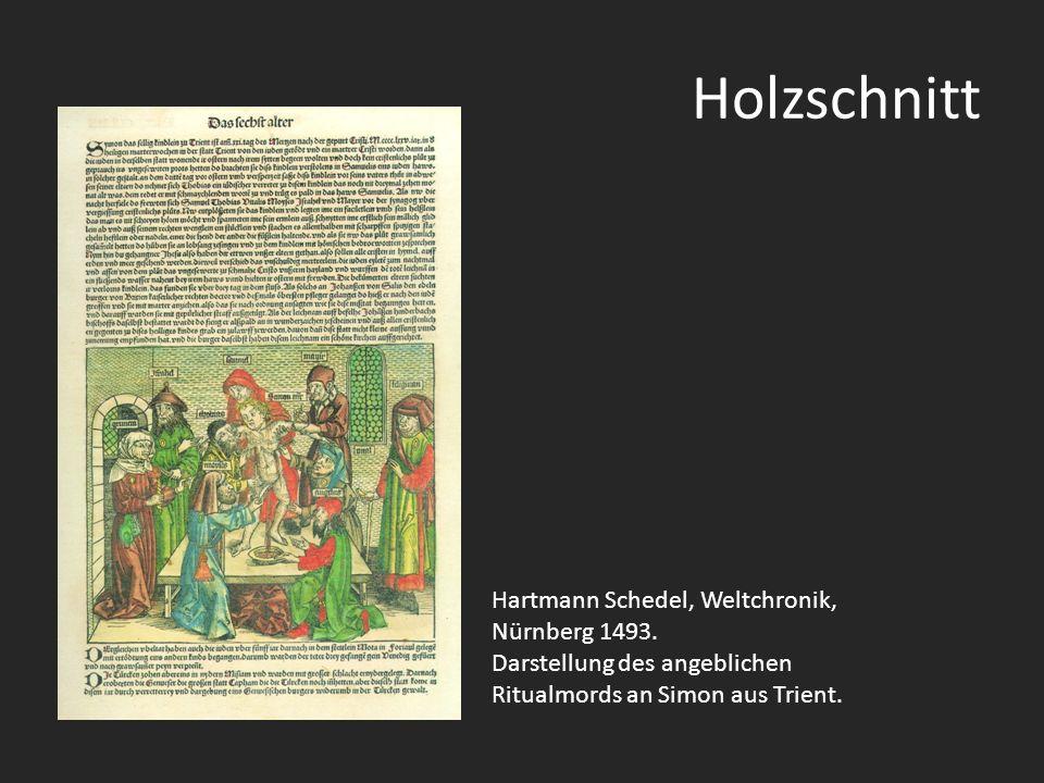 Holzschnitt Hartmann Schedel, Weltchronik, Nürnberg 1493. Darstellung des angeblichen Ritualmords an Simon aus Trient.