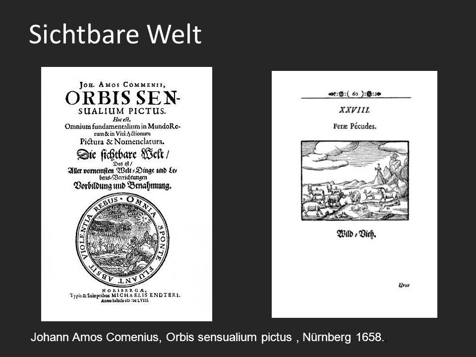 Sichtbare Welt Johann Amos Comenius, Orbis sensualium pictus, Nürnberg 1658.,