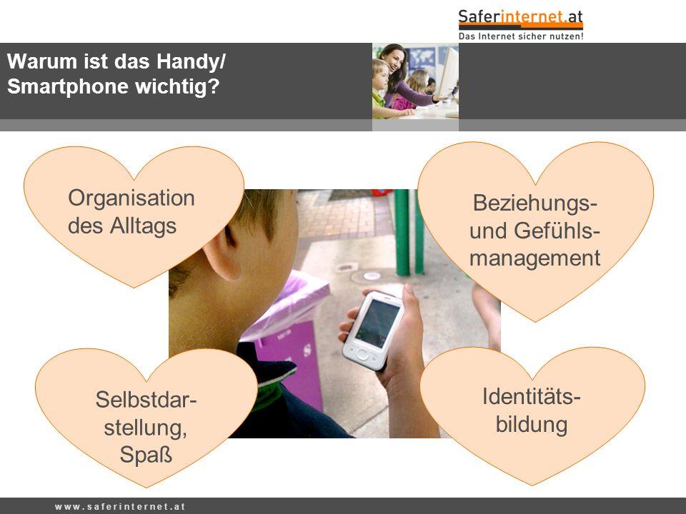 Organisation des Alltags Identitäts- bildung Beziehungs- und Gefühls- management Selbstdar- stellung, Spaß Warum ist das Handy/ Smartphone wichtig? w
