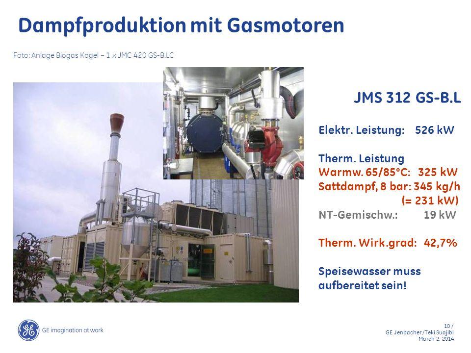 10 / GE Jenbacher /Teki Suajibi March 2, 2014 Elektr. Leistung: 526 kW Therm. Leistung Warmw. 65/85°C: 325 kW Sattdampf, 8 bar: 345 kg/h (= 231 kW) NT