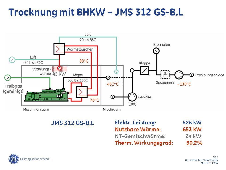 12 / GE Jenbacher /Teki Suajibi March 2, 2014 70°C 451°C 42 kW 90°C Treibgas (gereinigt) ~130°C Trocknung mit BHKW – JMS 312 GS-B.L Elektr. Leistung:5