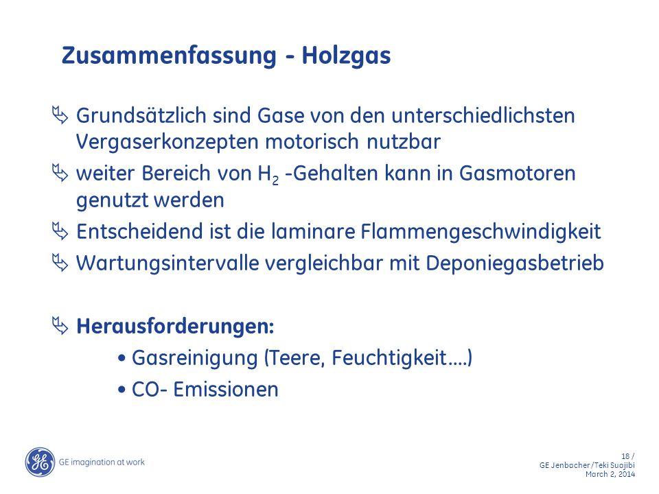 18 / GE Jenbacher /Teki Suajibi March 2, 2014 Zusammenfassung - Holzgas Grundsätzlich sind Gase von den unterschiedlichsten Vergaserkonzepten motorisc
