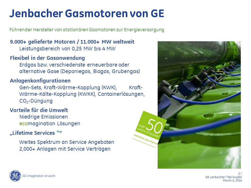 3 / GE Jenbacher /Teki Suajibi March 2, 2014 Produkt Programm 2010: Bio-, Klär- und Deponiegas J 208 GS-B.L J 312 GS-B.L J 316 GS-B.L J 320 GS-B.L J 612 GS-B.L J 616 GS-B.L J 620 GS-B.L J 420 GS-B.L J 412 GS-B.L J 416 GS-B.L 39% 40,5% 42,2% 40,8% 42,5% Elektrische Leistung [kW] Therm.