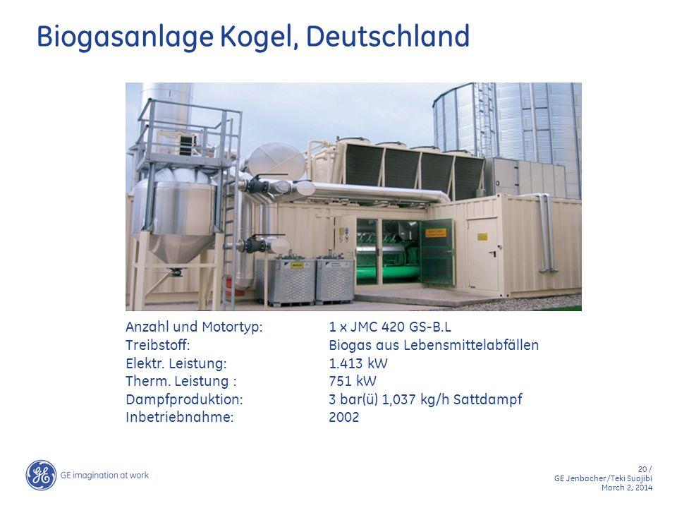 20 / GE Jenbacher /Teki Suajibi March 2, 2014 Biogasanlage Kogel, Deutschland Anzahl und Motortyp:1 x JMC 420 GS-B.L Treibstoff:Biogas aus Lebensmitte