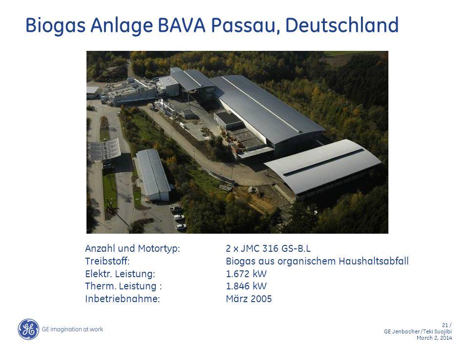21 / GE Jenbacher /Teki Suajibi March 2, 2014 Biogas Anlage BAVA Passau, Deutschland Anzahl und Motortyp:2 x JMC 316 GS-B.L Treibstoff:Biogas aus orga