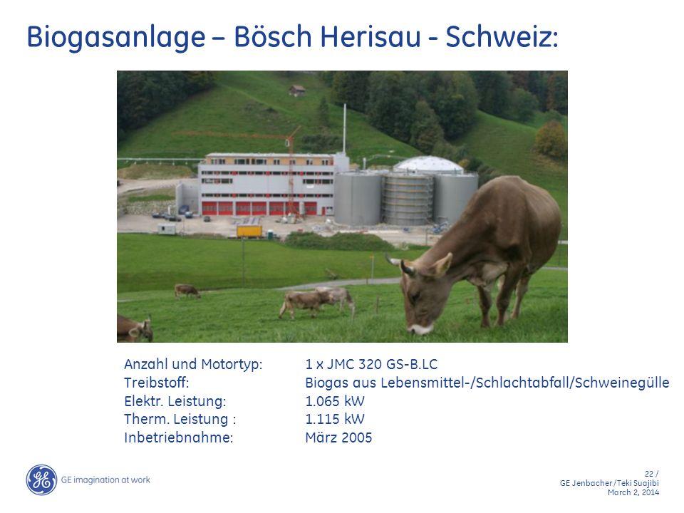 22 / GE Jenbacher /Teki Suajibi March 2, 2014 Biogasanlage – Bösch Herisau - Schweiz: Anzahl und Motortyp:1 x JMC 320 GS-B.LC Treibstoff:Biogas aus Le