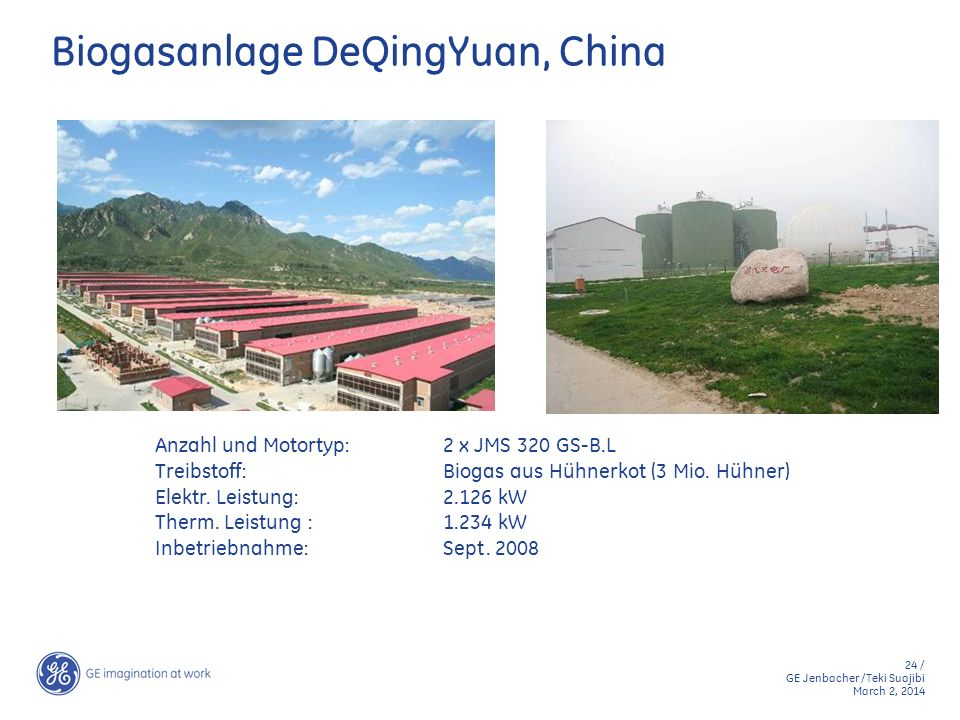 24 / GE Jenbacher /Teki Suajibi March 2, 2014 Biogasanlage DeQingYuan, China Anzahl und Motortyp:2 x JMS 320 GS-B.L Treibstoff:Biogas aus Hühnerkot (3
