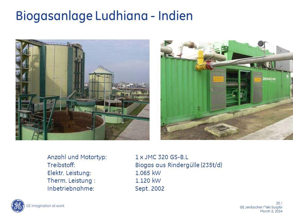 25 / GE Jenbacher /Teki Suajibi March 2, 2014 Biogasanlage Ludhiana - Indien Anzahl und Motortyp:1 x JMC 320 GS-B.L Treibstoff:Biogas aus Rindergülle