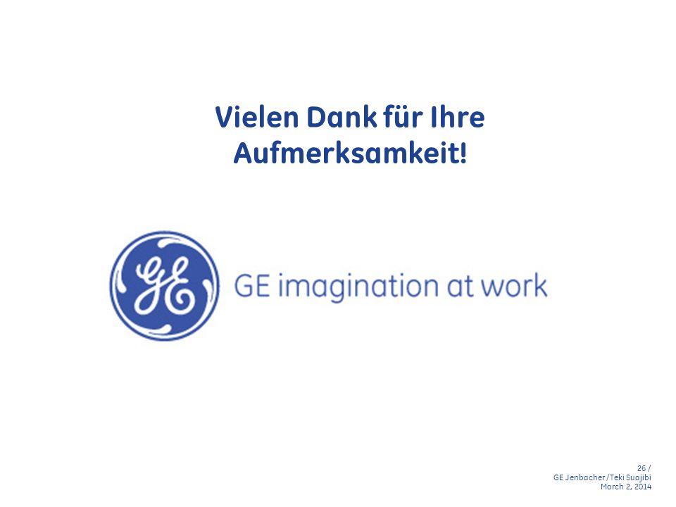 26 / GE Jenbacher /Teki Suajibi March 2, 2014 Vielen Dank für Ihre Aufmerksamkeit!